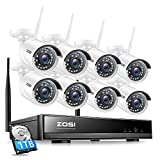 ZOSI 8CH HD 1080P Außen WiFi Überwachungskamera Set mit 1TB Festplatte H.265+ Kabellos NVR mit 81080P Outdoor WLAN Kamera System für Hausüberwachung, 20M-IR N