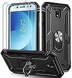 ivoler für Samsung Galaxy J5 2017 Hülle mit [Panzerglas Schutzfolie *3], Militärischer Schutz Stoßfest Handyhülle Anti-Kratzer Schutzhülle Case Cover mit 360 Grad Ring Halter, Schw
