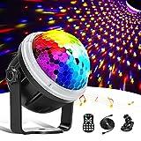 Discokugel,LED Party Lampe Partylicht mit Sternenmuster, 11 Farbe RGBY Musikgesteuert 4M USB, Disco Lichteffekte 360° Drehbares Discolampe mit Fernbedienung für Weihnachten, Party,