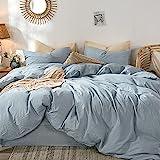MooMee Bettwäsche-Set, 100 % gewaschene Baumwolle, Leinenähnlich, strukturiert, atmungsaktiv, langlebig, weich, bequem, Kornblumenblau, für Doppelb