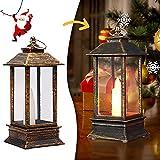N\C Weihnachtslaternen Bemalte Windlicht hängend Weihnachtsdeko Vintage Xmas Kerze LED Teelicht Hängelampe Feuerlose Kerzen Lampe für Draußen Drinnen Weihnachten Party Tischdeko (D3)