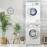 ECD Germany Verbindungsrahmen Universal mit ausziehbarer Ablage für Waschmaschine und Trockner, aus Stahl, 60x60cm, Weiß, Zwischenbaurahmen Zwischenrahmen Zwischenbausatz Waschmaschinenzubehö