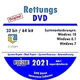 TRALION Rettungs DVD 2021 - CD/DVD für Windows XP, Windows Vista, Windows 7, Windows 8.1, Windows 10 - System Rettung, Notfall DVD - 32bit, 64b