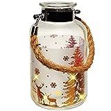 alles-meine.de GmbH 2 Stück _ XL Gläser - Windlicht - LICHT Dekoflasche - 5 Stück LED - Weihnachten - Hirsch im Winterwald - Gold - 20 cm - Flasche - Weihnachtsflasche - L