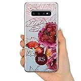 TULLUN Hartschalenhülle für Samsung Galaxy Modelle, Herbstblumen-Rosen, personalisierbar, plastik, Rosen weiße Initialen, for Samsung Galaxy S10