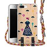 DeinDesign Carry Case kompatibel mit Apple iPhone 7 Plus Hülle mit Kordel aus Stoff Handykette zum Umhängen pink-terrazzo Mary Poppins Offizielles Lizenzprodukt Disney
