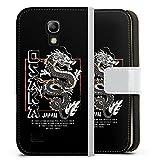DeinDesign Klapphülle kompatibel mit Samsung Galaxy S4 Mini Handyhülle aus Kunst Leder weiß Flip Case Japan Drache M