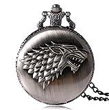 Féeries et Wonderes Taschenuhr Wolf Game of Thrones, Game of Thrones Haus Stark (HT 6 x 4,5 cm), Wolfs-Figur, Halsk