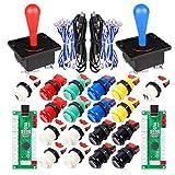 Fosiya 2 Spieler Arcade Game DIY Kits Ellipse Oval Happ Joystick Griff + 18x American Style Arcade Taster (Include 1P / 2P Start-Tasten) (Mischfarbe)