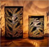 ZEYA Windlicht schwarz Metall 2er Set, Windlicht Gold Deko, Perfekte Dekoration Wohnzimmer, Windlicht Laterne B