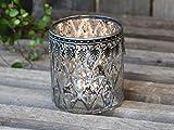 Chic Antique Teelichthalter Windlicht Kerzenglas groß Glas Bauernsilber Deko Landhaus Nostalgie Shabby F