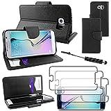 ebestStar - kompatibel mit Samsung Galaxy S6 Hülle SM-G920F, G920 Wallet Case Handyhülle [PU Leder], Kartenfächern Standfunktion + Mini Stift +3 Schutzfolies, Schwarz [Phone: 143.4x70.5x6.8mm, 5.1'']