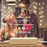 Spotify Glas Personalisiert Song Cover mit Foto Scannbar Spotify Code Nachtlicht aus 5mm Acrylglas, Geschenkidee für Partner, Familie, Freunde, Geburtstag
