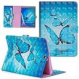 UUcovers Folio Wallet für Samsung Galaxy Tab S2 9.7 Tablet Hülle (SM-T810/T815/T813), Slim Stand PU Leder Leicht Flip Cover Magnetverschluss Schale mit Kartenschlitzen Halter Tasche Blau Schmetterling