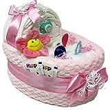 Großes Windelbettchen Süße Träume in rosa 50tlg. Geschenk zur Taufe Geburt für Mädchen Windeltorte (Rosa)