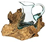 Balibarang-Shop Geschenk Deko Gamal Wurzelholz 1,5 L Kanne Glas Vase Wurzel Holz Teakholz Krug L