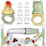 Lictin Fruchtsauger Baby + 6 Silikon-Sauger in 3 Größen + Zwei Wege Baby Sicherheitslöffel - BPA-frei - Kleinkind Fruchtsauger Schnuller Beißring Obstsauger für Obst Gemüse Brei Beikost (11 Stück)