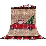 Rote LKW-Decke aus weichem Fleece für Couch, Weihnachtsbaum, Mikrofaser, Bettdecke, rot und schwarz, kariert, Weihnachtsüberwurf, 101,6 x 127 cm, Flanell-Decke für Sofa, Reisen, für alle J