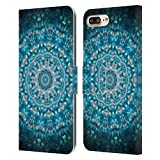 Head Case Designs Offizielle Zugelassen Monika Strigel Meerblau Mandala Leder Brieftaschen Handyhülle Hülle Huelle kompatibel mit Apple iPhone 7 Plus/iPhone 8