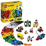 LEGO 11014 Classic Steinebox mit Rädern, Bausteine für Kinder, Spielzeug ab 4 Jahren, mit Spielzeugauto, Zug, Bus, Rob
