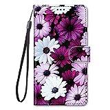 Miagon Full Body Flip PU Leder Schutzhülle für Samsung Galaxy A42,Bunt Muster Hülle Brieftasche Case Cover Ständer mit Kartenfächer,Lila B