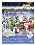 folia 9398 - Adventskalender Bastelset Winterlandschaft, mit 24 vorgestanzten Geschenkschachteln aus stabilem Motivkarton, verschiedene Stanzteile und 200 3D Klebep