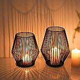 ZHJIUXING ST Kerzenhalter 2er Set, Schwarz Metall Kerzenhalter, Vintage Deko Kerzenleuchter für Halloween Wohnzimmer Schlafzimmer, Hochzeit W