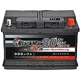Autobatterie 80Ah 12V BlackMax +30% mehr Leistung Starterbatterie ersetzt 72Ah 74