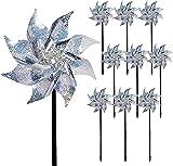 Yomiro 10 Stücke Reflektierende Windmühle Vogelabwehr, Garten Vogelabwehr, Obstgarten Vogelschreck, Balkon Vogelabweisende, Dach Vogelschreck, Spielzeug fü