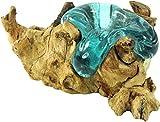 GURU SHOP Wurzelholz mit Teelichthalter aus Mundgeblasenem Glas - Model 1, Braun, 13x15 cm, Teelichthalter &