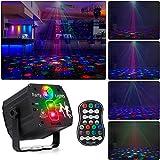 Drehbares Discokugel, RGB LED Party Licht mit Fernbedienung und USB Kabel, Sprachsteuertes Bühnenlicht, Discolicht mit mehreren Mustern für Partys Geburtstags Halloween Feiertags W