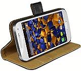 mumbi Echt Leder Bookstyle Case kompatibel mit Samsung Galaxy S4 mini Hülle Leder Tasche Case Wallet, schw