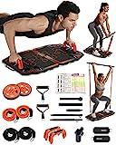 Gonex 10 in 1 Faltbare Fitnessgeräte für Zuhause, tragbarer Bauchroller, Widerstandsbändern, Liegestützgriffe, T-Bar Row Trainingsgerät, platzsparend, perfekt für das Heim-F