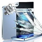 LϟK Schutzfolie für iPhone 13 Pro Max Panzerglas mit Rahmen - 2 Stück Folie mit 2 Stück Kamera Panzerglas, 9H Glas, Hülle Freundlich, Anti-Blau Licht, Augenschutz Displayschutzfolie 6,7 Z