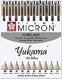 Sakura Pigma Yukama® Art-Edition, alle 10 Pigma Micron Fineliner Nr. 003-12, Schw