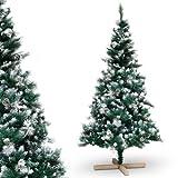 Urhome Künstlicher Weihnachtsbaum mit Ständer beschneite Tanne mit Zapfen - 120 cm hoher Christbaum Dekobaum PVC Kunstbaum Tannenbaum Schnellaufbau Klappsystem Baum für W