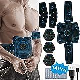 PHANXY EMS Trainingsgerät Muskelstimulation Elektrostimulation Elektrische Bauchmuskeltrainer für Trainings Gang 14 Pads G