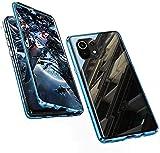Topmore Hülle Kompatibel mit Xiaomi 11 Lite 4G/5G Magnetische Handyhülle,360 Grad Metallrahmen Schutzhülle Vorne und Hinten Gehärtetes Glas Magnet Case Panzerglas Doppelseitige hülle,B