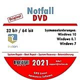 TRALION Notfall-DVD 2021 - CD/DVD für Windows XP, Windows Vista, Windows 7, Windows 8.1, Windows 10 - System Rettung, Notfall DVD - 32bit, 64b