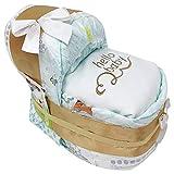 KLEINES Windelbettchen' hello baby' für Mädchen oder Jungen in beige hochwertig bestickt. Geschenk zur Geburt, Taufe oder Babyparty. W