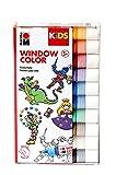 Marabu 0306000000100 - Kids Window Color Set mit 10 x 25 ml Farbe und Malvorlage A4 mit 18 Motiven, Fenstermalfarbe auf Wasserbasis, geeignet für Glas, Spiegel, Fliesen und F