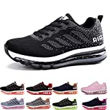 frysen Herren Damen Sportschuhe Laufschuhe mit Luftpolster Turnschuhe Profilsohle Sneakers Leichte Schuhe Black White 38