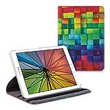 kwmobile Schutzhülle kompatibel mit Samsung Galaxy Tab S2 9.7 - Hülle 360° - Tablet Cover Case - Regenbogen Würfel Mehrfarbig Grün B