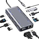 Docking Station,USB C Adapter,12 Port USB C Hub mit 4K-HDMI,VGA,2*USB 3.0&2.0,100W PD,Gigablit Ethernet,3.5mm Audio/Mic,SD/TF-Kartenleser,kompatibel für MacBook Pro/Air, More Type C G