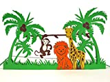 MOKIO® Pop-Up Karte für Kinder – bunte Tiere im Dschungel: Löwe, Giraffe & Affe – 3D Karte zum Geburtstag, Gutschein Klappkarte für den Z
