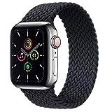 Leishouer Geflochtener Nylon Solo Loop kompatibel mit Apple Watch Armband 44mm 40mm 38mm 42mm 41mm 45mm Elastisches Nylonarmband für iWatch Serie 7 6 5 4 3 SE Band,42mm/44mm-M Schw