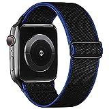 Recoppa Apple Watch Armband Elastisch Stoff, Komplementärfarbe Solo Loop Gewebtes Nylonarmband mit Einstellbarem Verschluss Kompatibel mit iWatch Series 7/6/SE/5/4/3/2/1, Schwarz Blau 42mm 44