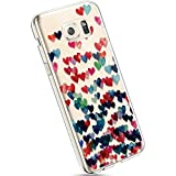 Ysimee Hülle kompatibel mit Samsung Galaxy S6 Edge Handyhülle, Transparent Weiche Silikon Schutzhülle Muster Blumen [Crystal Klar] TPU Bumper Dünne Stoßfeste Protective Hülle, Buntes H