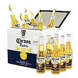 Corona Extra Coolbox - Kühltruhe mit 12 Flaschen internationales Premium Lagerbier, Geschenkpack, MEHRWEG Lager Bier Helles (12 x 0.355 l)