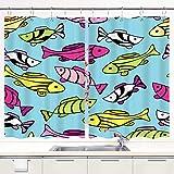 Küchenvorhänge,Muster mit kleinen Fischen auf blauem Hi,Fensterbehandlungssets mit Metallhaken Fenstervorhänge 2 Panels Sets für Home Cafe Decor 55 'X 39'